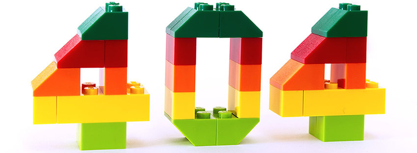 A three dimensional number 404 built from colourful LEGO blocks.