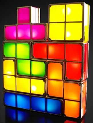Tetris Mood Light: Individual coloured blocks which light up when stacked together. Inspired by the Tetris game.