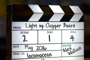 Novelty mood light in the shape of a movie style clapperboard. Fill in the boxes with your own details.