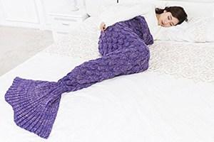 Purple Knitted Mermaid Blanket